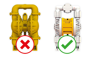 Graphic of an X and a Checkmark Depicting AODD Pump Selection Process